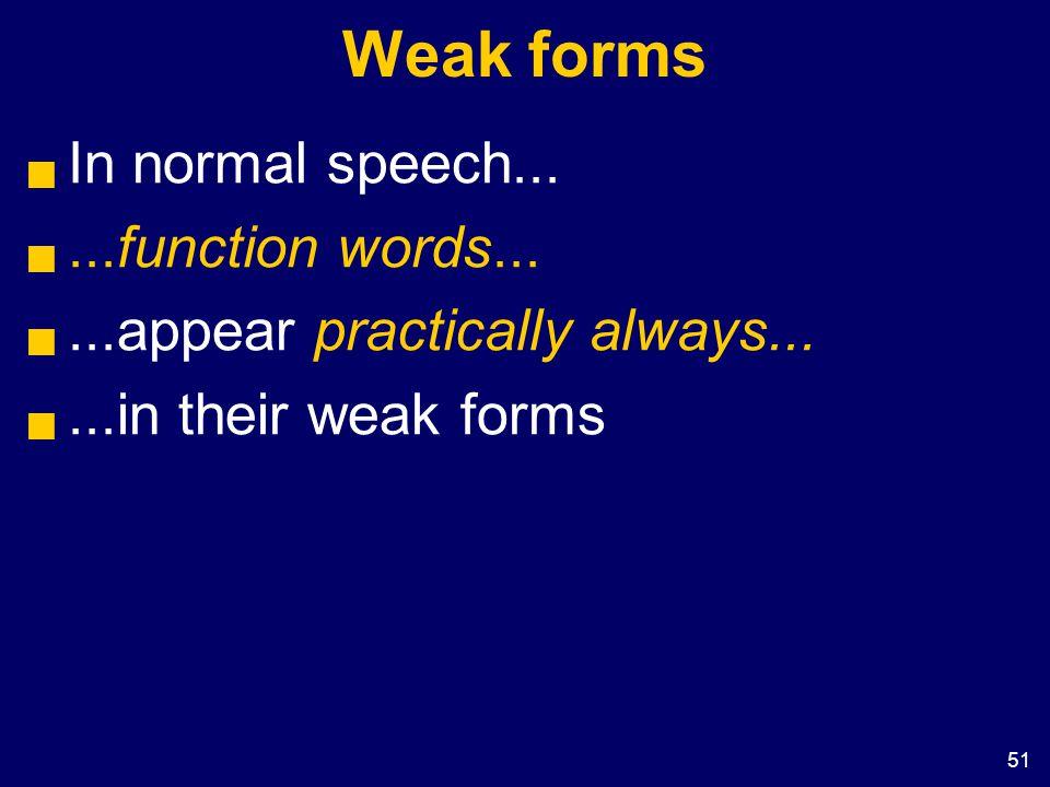 51 Weak forms  In normal speech... ...function words...