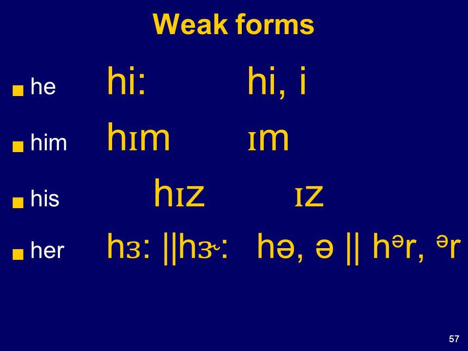 57 Weak forms  he hi:hi, i  him h ɪ m ɪ m  his h ɪ z ɪ z  her h ɜ : ||h ɝ : hə, ə || h ə r, ə r