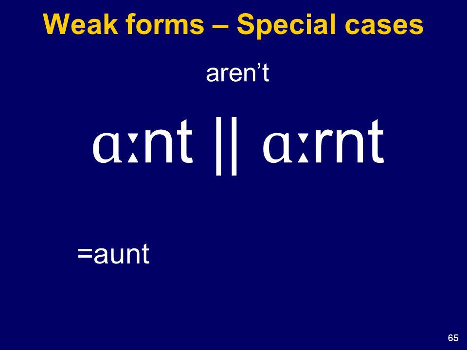 65 Weak forms – Special cases aren't ɑː nt || ɑː rnt =aunt