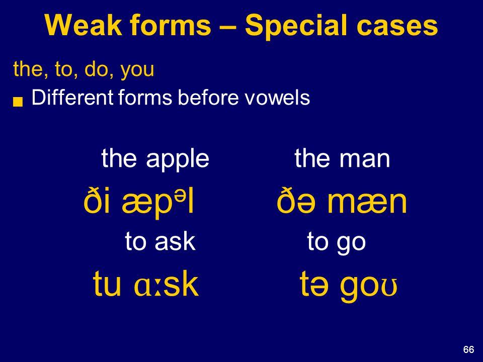 66 Weak forms – Special cases the, to, do, you  Different forms before vowels the applethe man ði æp ə lðə mæn to ask to go tu ɑː sk tə go ʊ