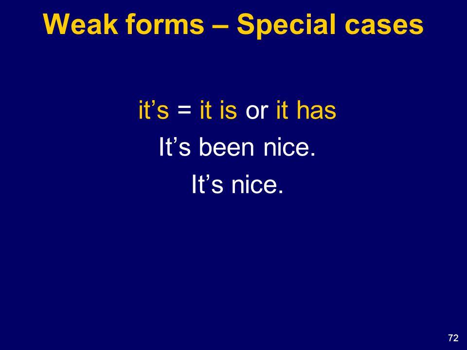 72 Weak forms – Special cases it's = it is or it has It's been nice. It's nice.