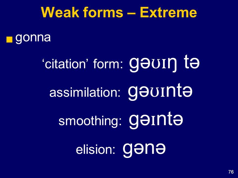 76 Weak forms – Extreme  gonna 'citation' form: gə ʊɪ ŋ tə assimilation: gə ʊɪ ntə smoothing: gə ɪ ntə elision: gənə