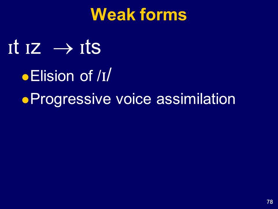 78 Weak forms ɪ t ɪ z  ɪ ts Elision of / ɪ / Progressive voice assimilation