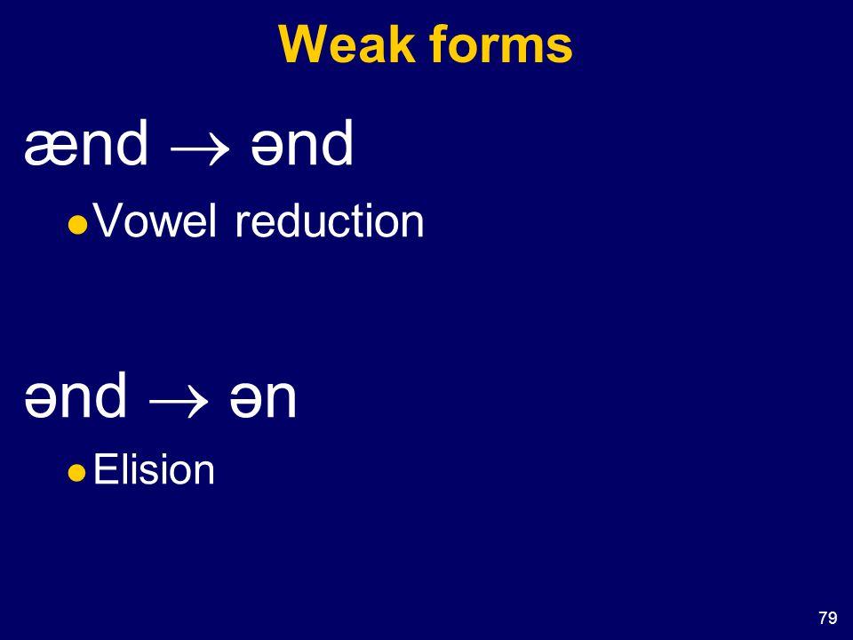 79 Weak forms ænd  ənd Vowel reduction ənd  ən Elision