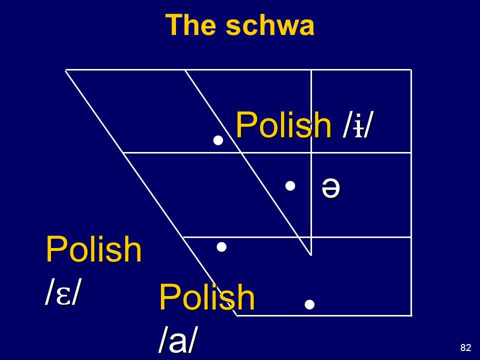 82 The schwa ə Polish / ɨ / Polish / ɛ / Polish /a/