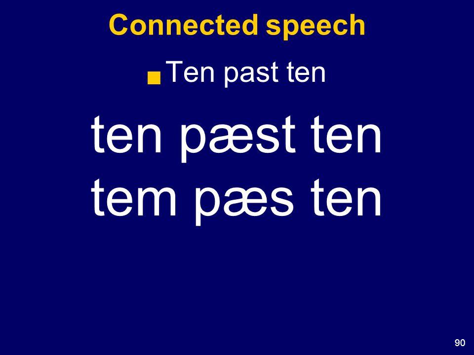 90 Connected speech  Ten past ten ten pæst ten tem pæs ten