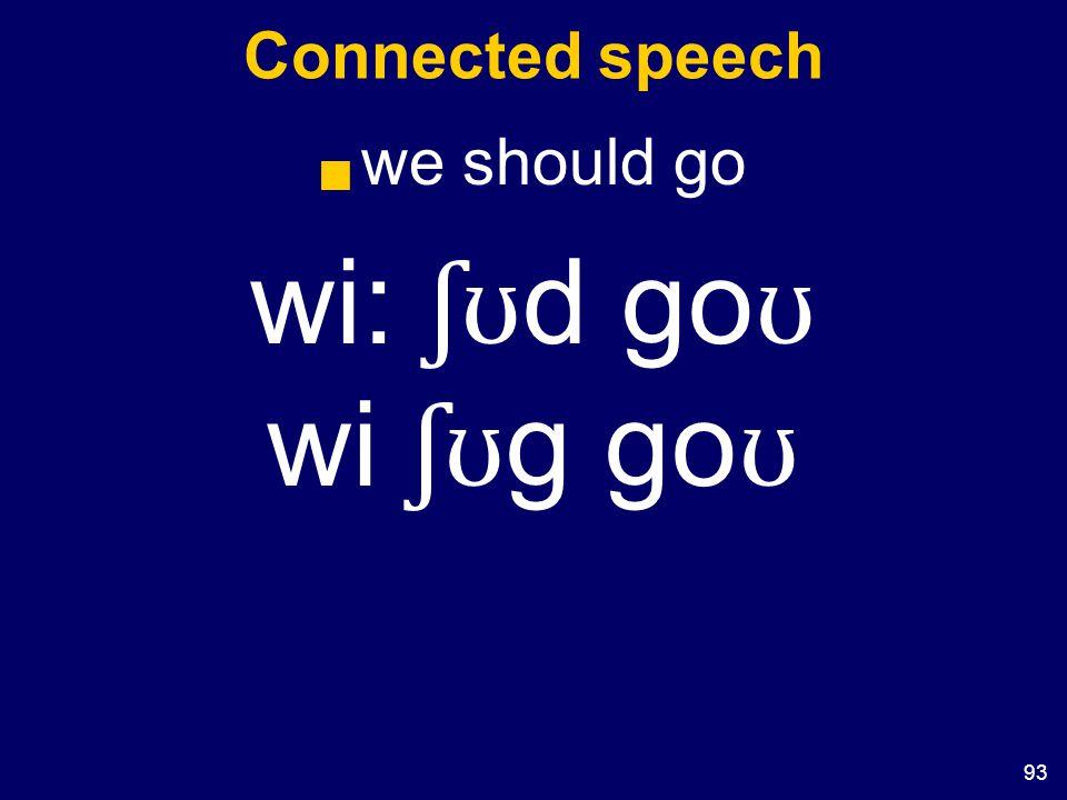 93 Connected speech  we should go wi: ʃʊ d go ʊ wi ʃʊ g go ʊ