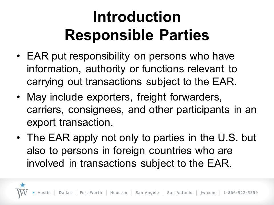 Introduction Responsible Parties U.S.