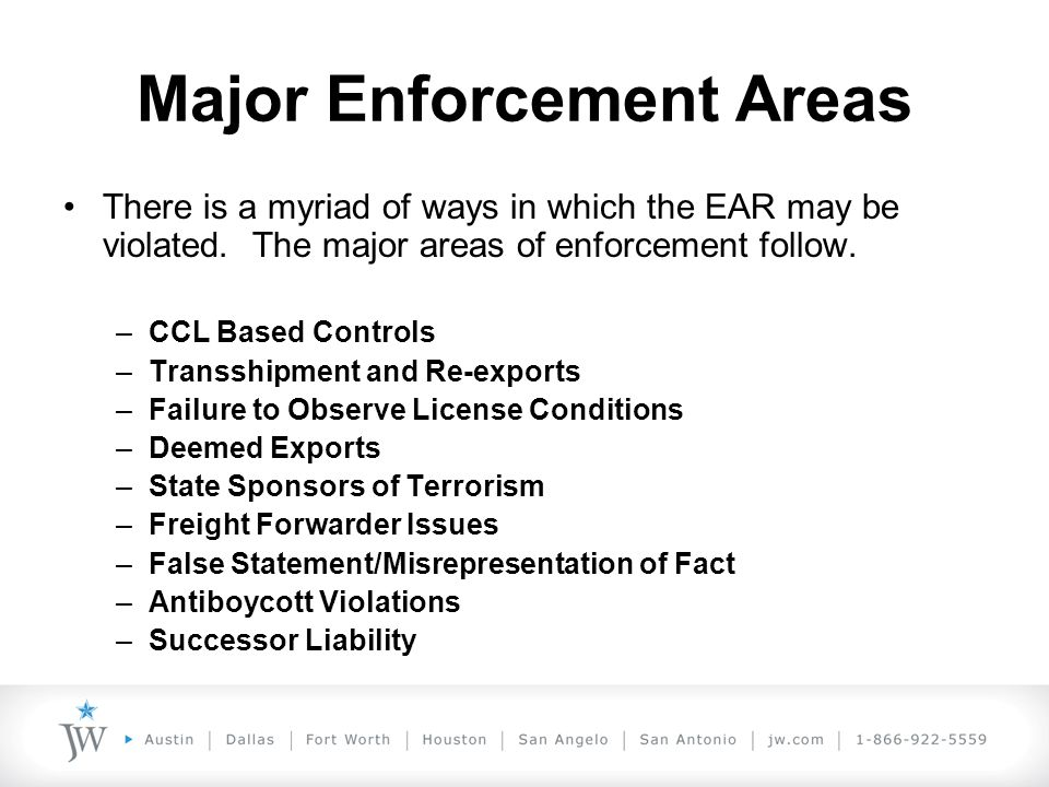 What to do if You Have a Potential Violation Aggravating Factors Aggravating factors: –Deliberate effort to hide or conceal violations (great weight) –Serious disregard for export compliance responsibilities (great weight) –Item is significant due to its sensitivity or reason for control (great weight) –History of violations –High quantity or value of export