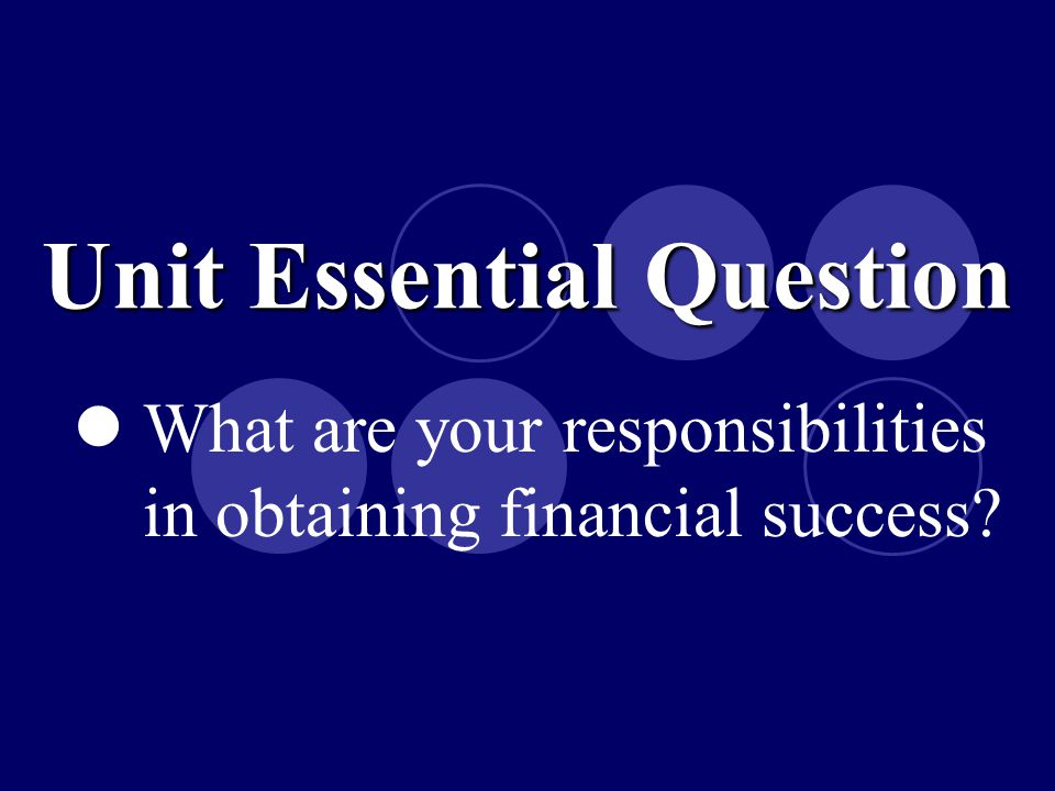 How do you prepare a financial plan? Essential Question 1 Credit