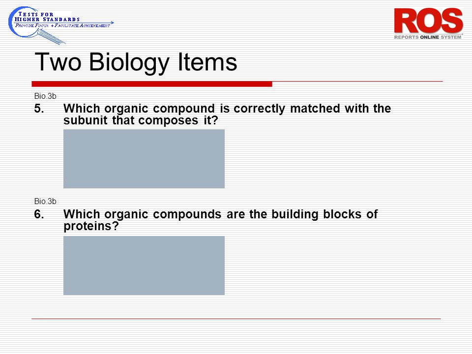 Two Biology Items Bio.3b 5.Which organic compound is correctly matched with the subunit that composes it? A maltose – fatty acids B starch – glucose C