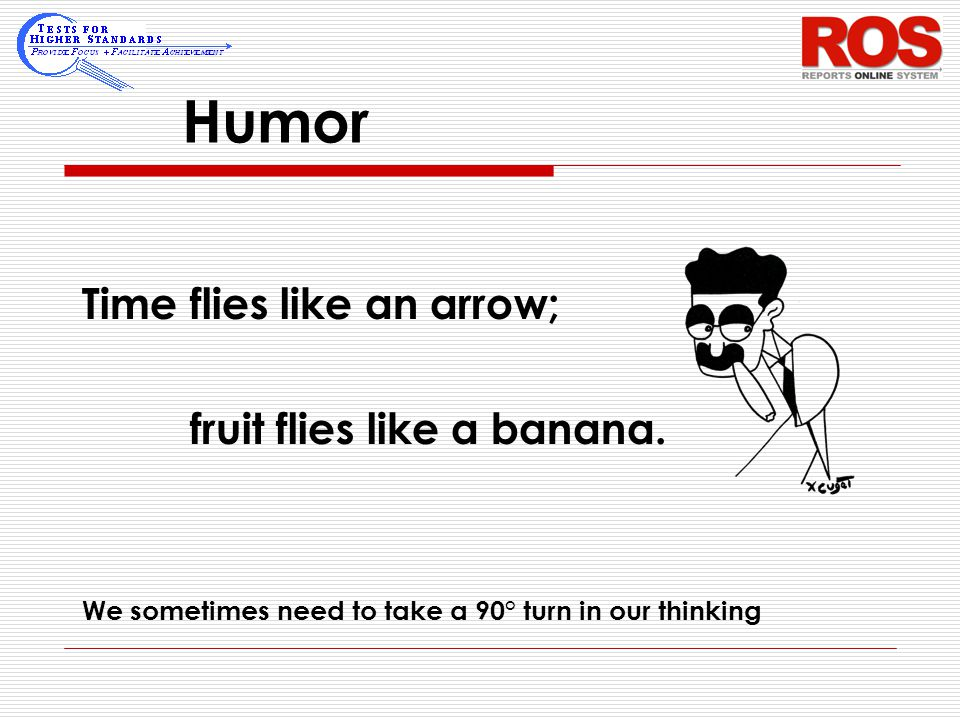 Humor Time flies like an arrow; fruit flies like a banana. We sometimes need to take a 90° turn in our thinking