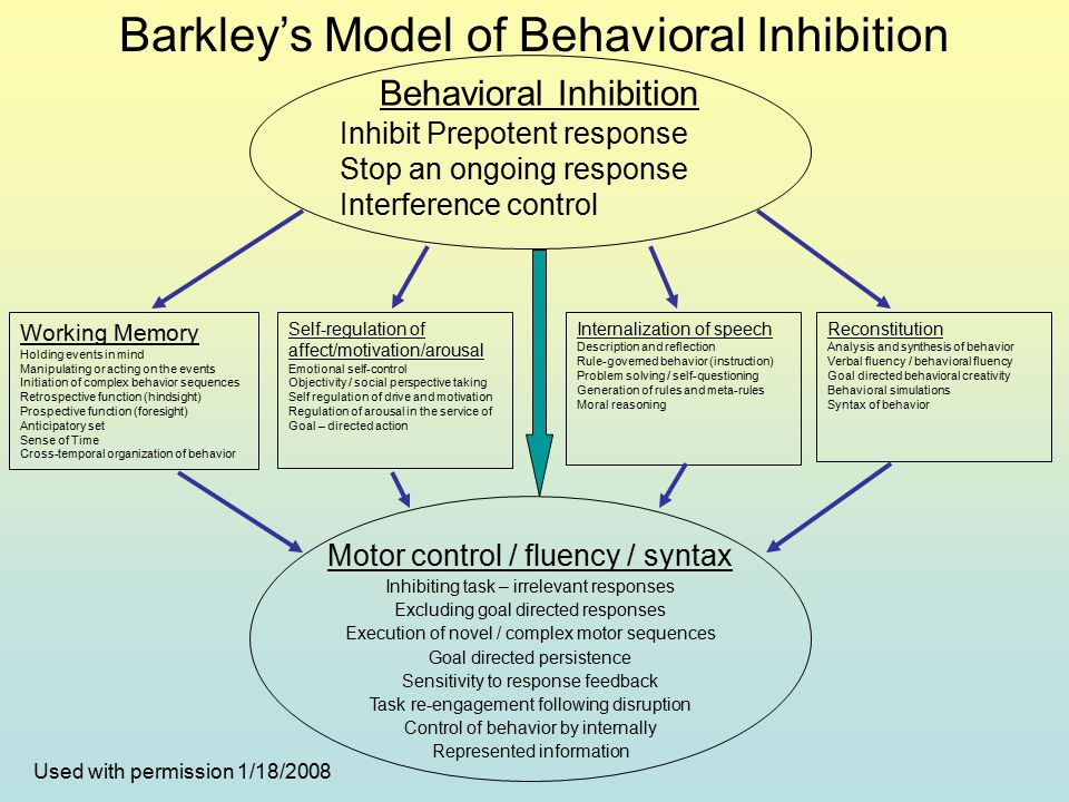 Behavioral Inhibition Inhibit Prepotent response Stop an ongoing response Interference control Working Memory Holding events in mind Manipulating or acting on the events Initiation of complex behavior sequences Retrospective function (hindsight) Prospective function (foresight) Anticipatory set Sense of Time Cross-temporal organization of behavior Self-regulation of affect/motivation/arousal Emotional self-control Objectivity / social perspective taking Self regulation of drive and motivation Regulation of arousal in the service of Goal – directed action Internalization of speech Description and reflection Rule-governed behavior (instruction) Problem solving / self-questioning Generation of rules and meta-rules Moral reasoning Reconstitution Analysis and synthesis of behavior Verbal fluency / behavioral fluency Goal directed behavioral creativity Behavioral simulations Syntax of behavior Motor control / fluency / syntax Inhibiting task – irrelevant responses Excluding goal directed responses Execution of novel / complex motor sequences Goal directed persistence Sensitivity to response feedback Task re-engagement following disruption Control of behavior by internally Represented information Barkley's Model of Behavioral Inhibition Used with permission 1/18/2008