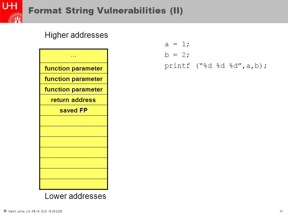  Martin Johns, UH, FB Inf, SVS, 19.06.200547 Format String Vulnerabilities (II) … function parameter return address saved FP Higher addresses Lower a
