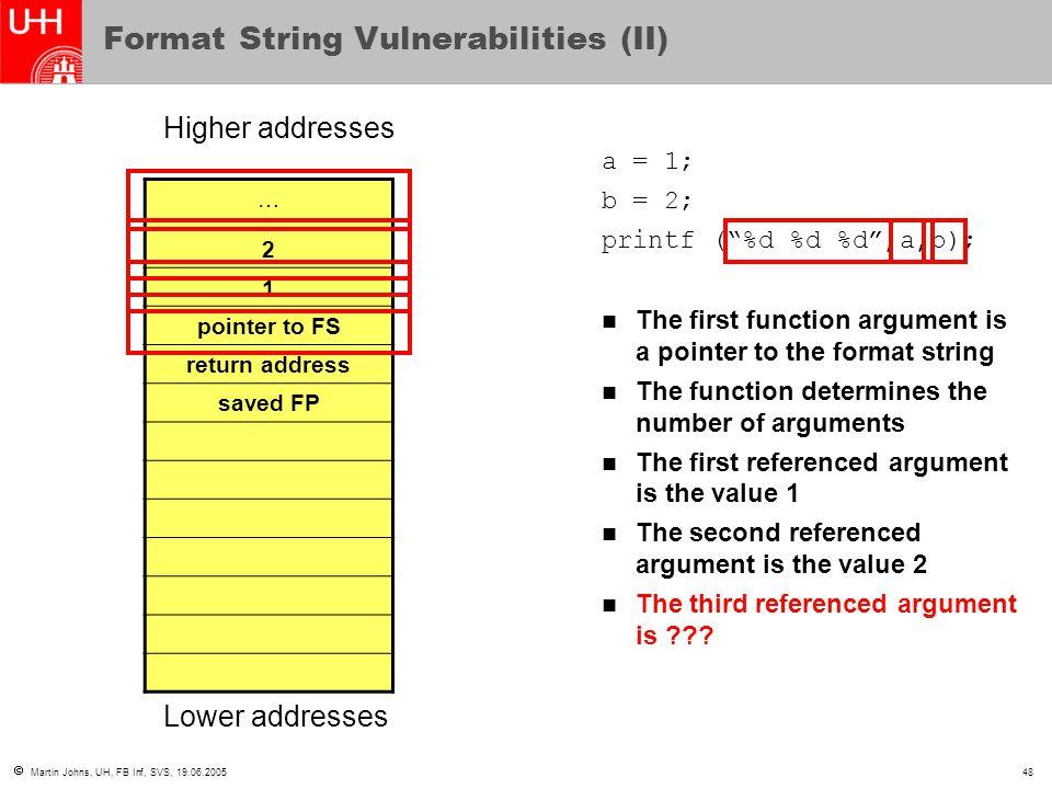  Martin Johns, UH, FB Inf, SVS, 19.06.200548 Format String Vulnerabilities (II) … 2 1 pointer to FS return address saved FP Higher addresses Lower ad