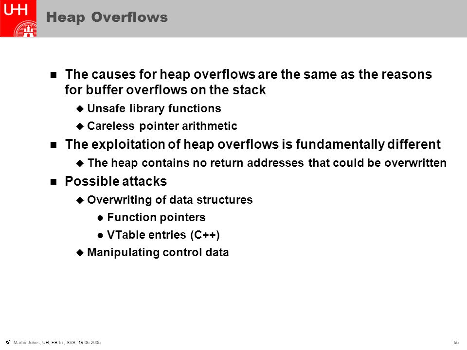  Martin Johns, UH, FB Inf, SVS, 19.06.200555 Heap Overflows The causes for heap overflows are the same as the reasons for buffer overflows on the sta