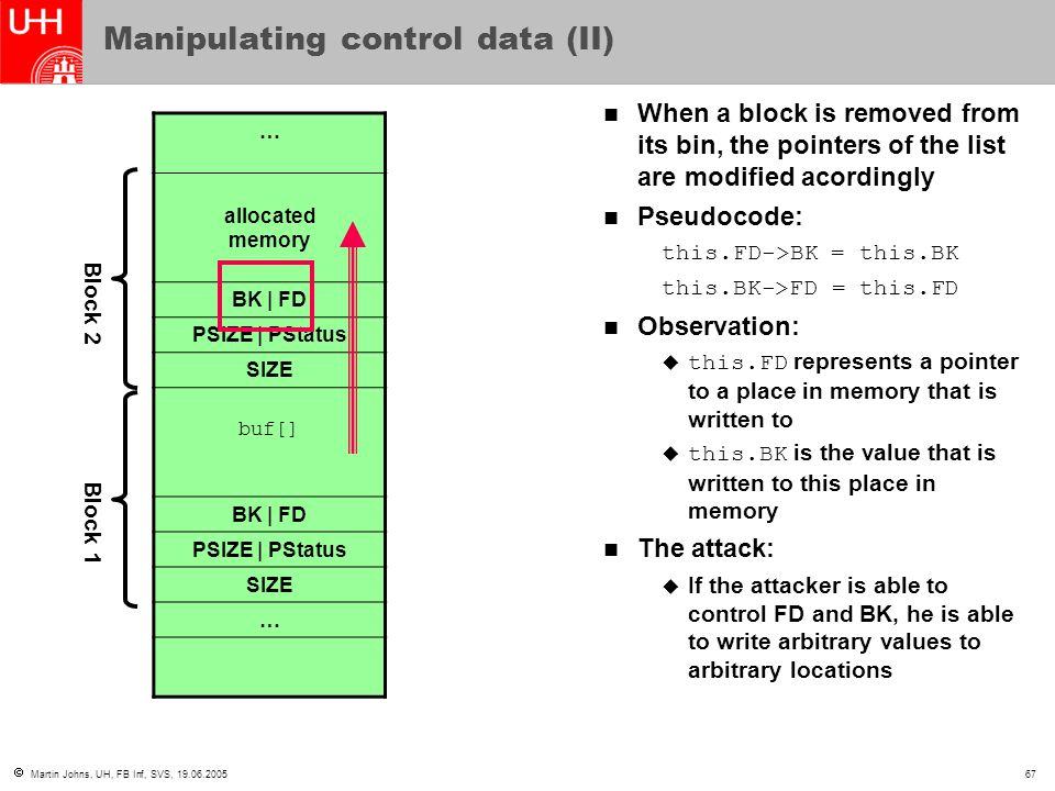 Martin Johns, UH, FB Inf, SVS, 19.06.200567 Manipulating control data (II) … allocated memory BK   FD PSIZE   PStatus SIZE buf[] BK   FD PSIZE   PSt