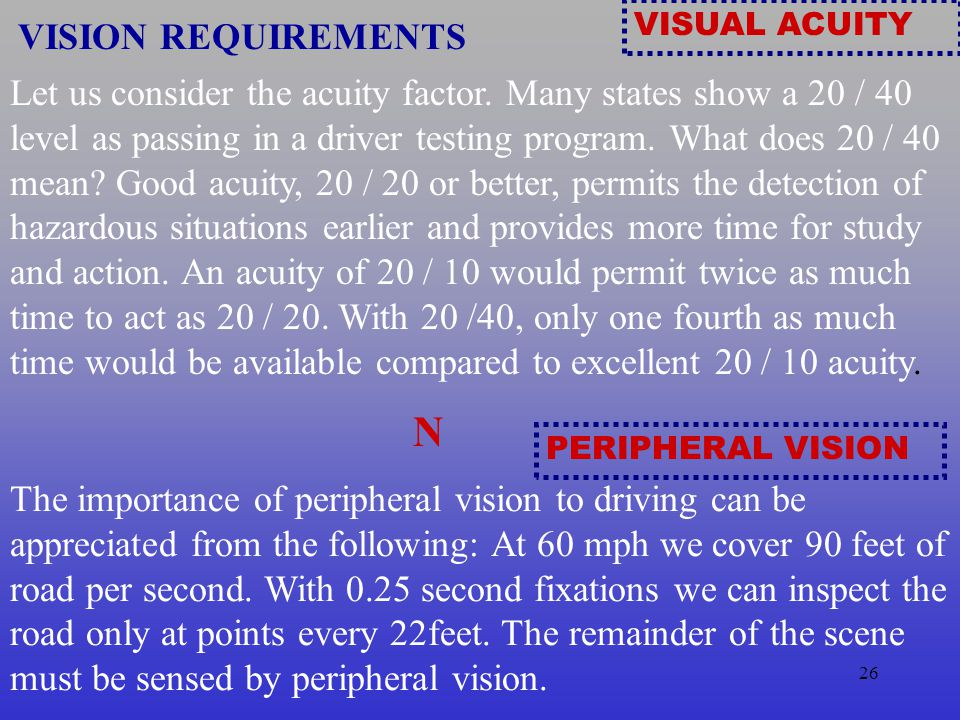 25 VISION To what extent does vision effect defensive driving.