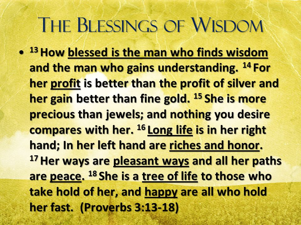 T HE B LESSINGS OF W ISDOM 13 How blessed is the man who finds wisdom and the man who gains understanding. 14 For her profit is better than the profit