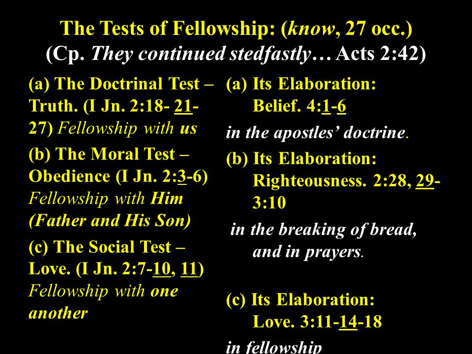 The Tests of Fellowship: (know, 27 occ.) (Cp.