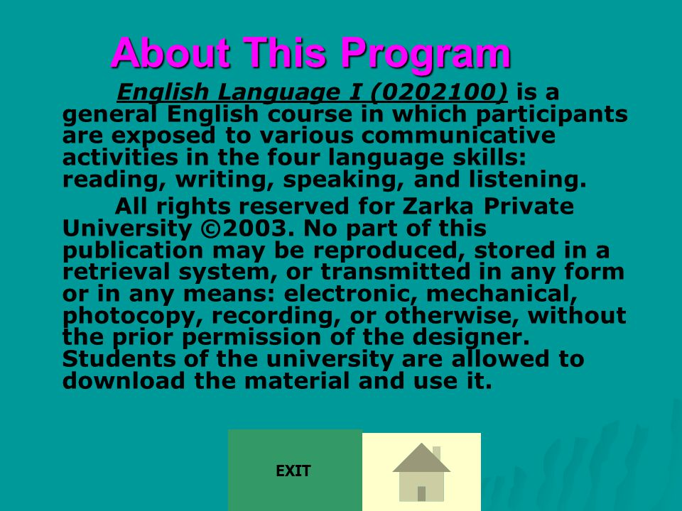 Teacher Manual This is a presentation of English Language I.