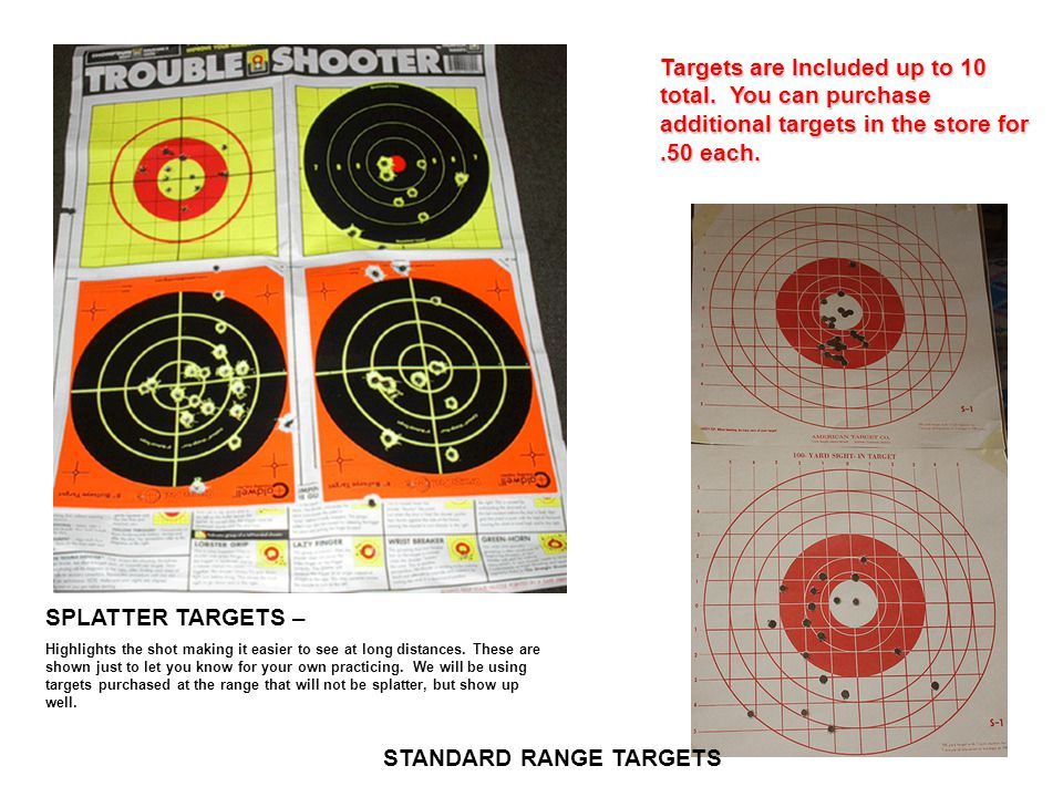 Targets are Included up to 10 total. You can purchase additional targets in the store for.50 each. STANDARD RANGE TARGETS SPLATTER TARGETS – Highlight