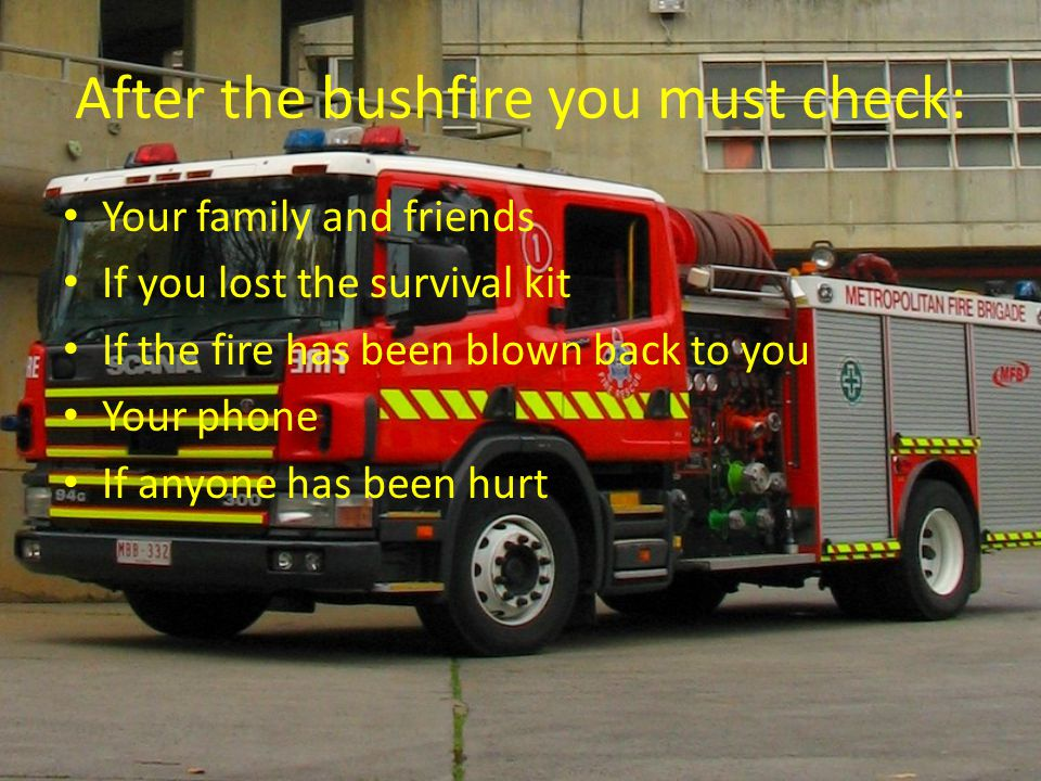 After the bushfire you must check: Your family and friends If you lost the survival kit If the fire has been blown back to you Your phone If anyone ha