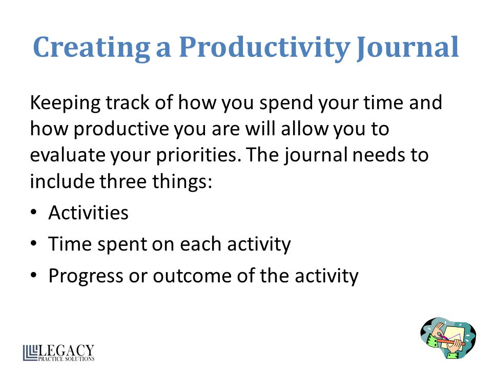 Creating a Productivity Journal Keeping track of how you spend your time and how productive you are will allow you to evaluate your priorities. The jo
