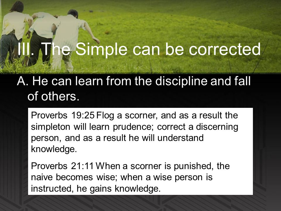 III. The Simple can be corrected A. He can learn from the discipline and fall of others.