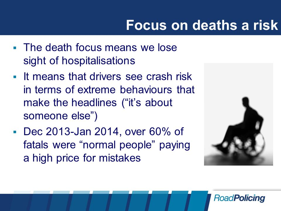 Focus on deaths a risk  The death focus means we lose sight of hospitalisations  It means that drivers see crash risk in terms of extreme behaviours