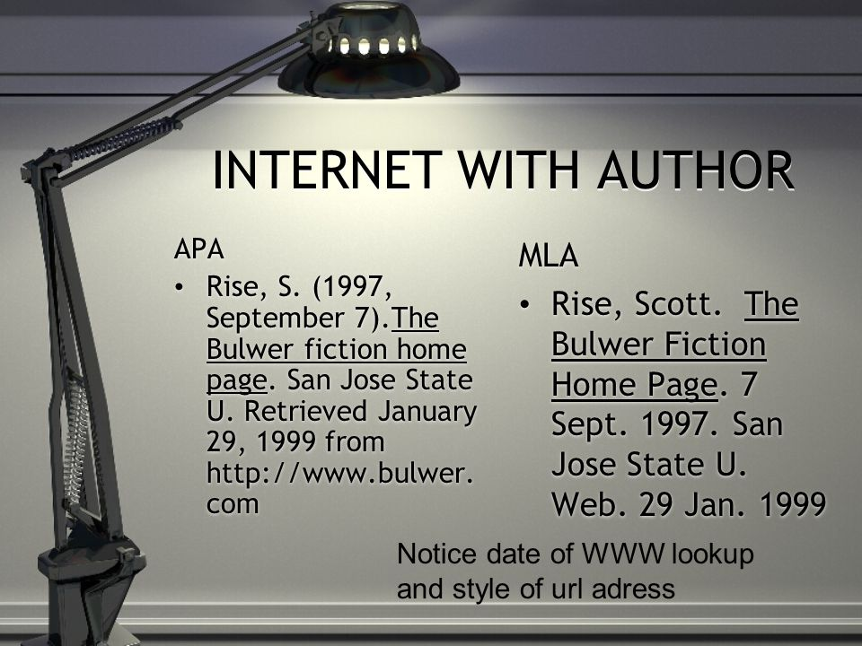 INTERNET WITH AUTHOR APA Rise, S. (1997, September 7).The Bulwer fiction home page.