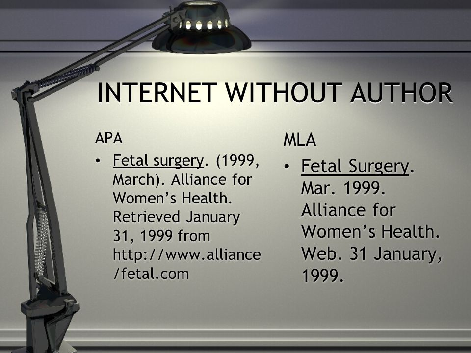 INTERNET WITHOUT AUTHOR APA Fetal surgery. (1999, March).