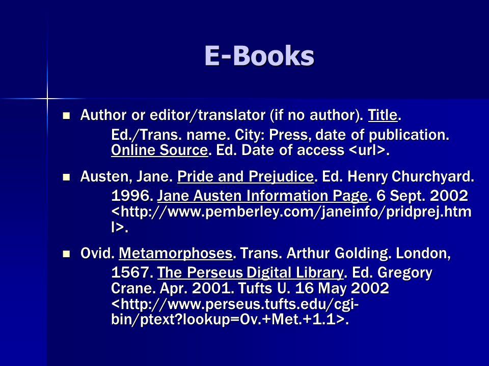 E-Books Author or editor/translator (if no author).