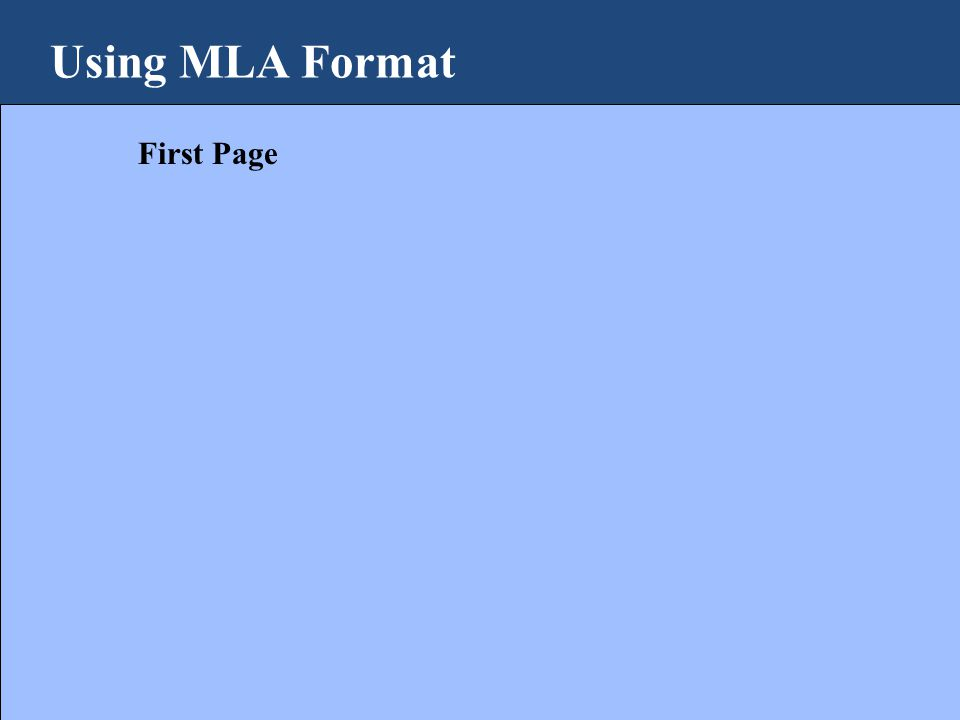 Using MLA Format First Page