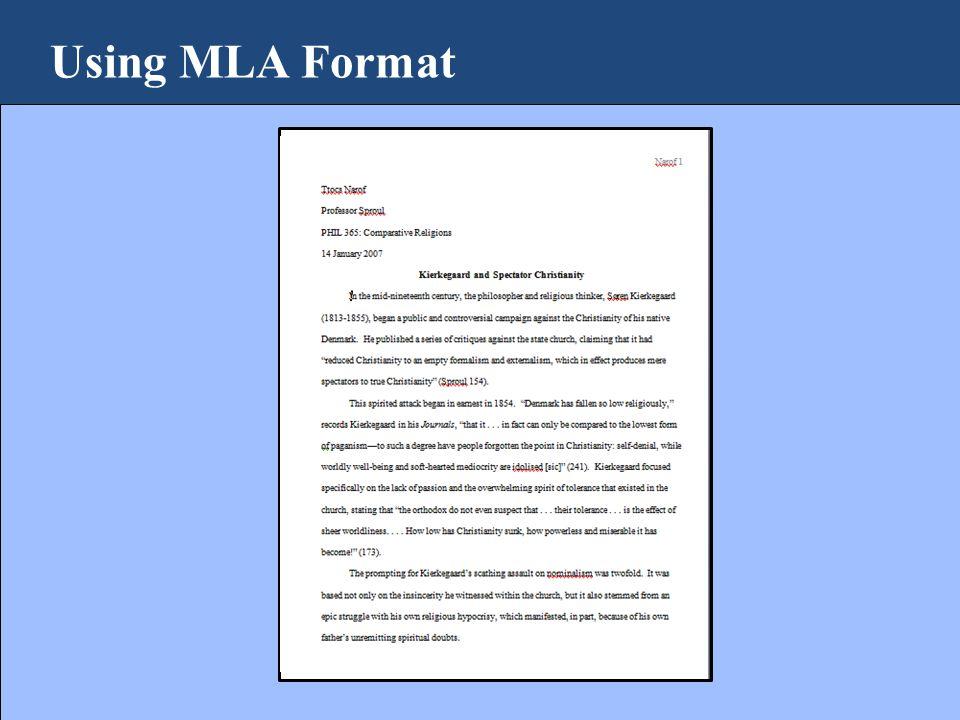 Using MLA Format 14 January 2007
