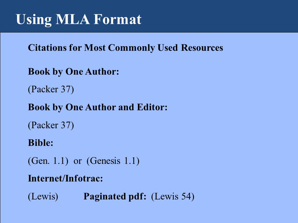 Using mla format why do i need to use a format ppt download using mla format citations for most commonly used resources book by one author packer ccuart Choice Image