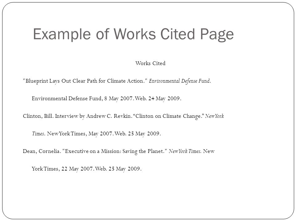 Example of Works Cited Page Works Cited