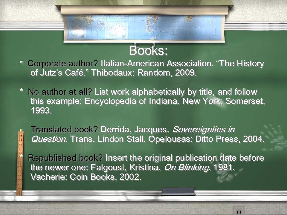 Books: * Corporate author. Italian-American Association.