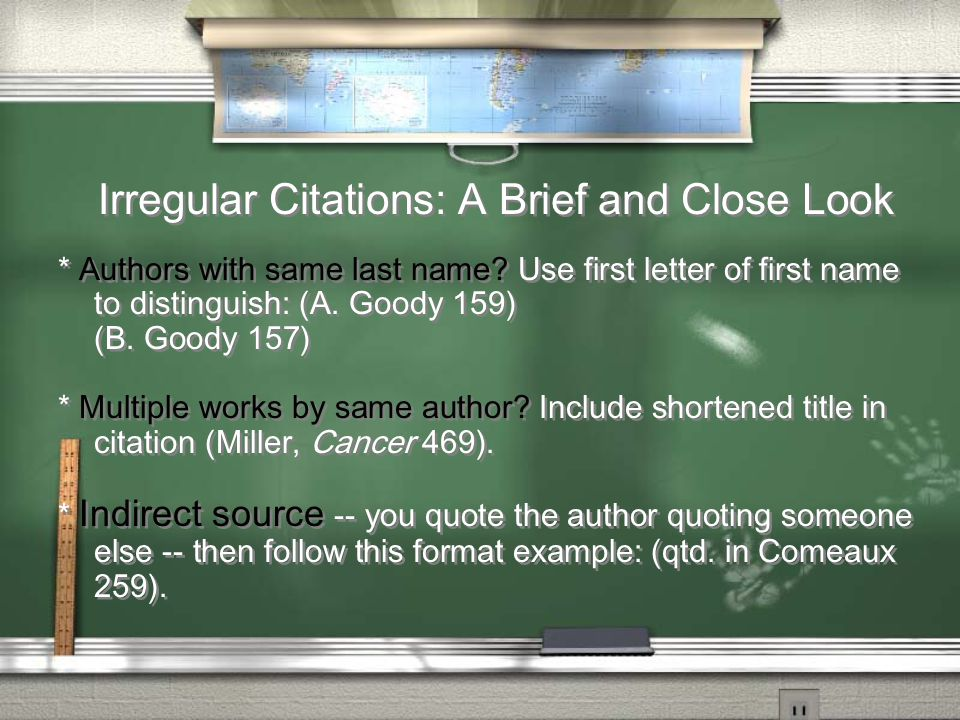 Irregular Citations: A Brief and Close Look * Authors with same last name.