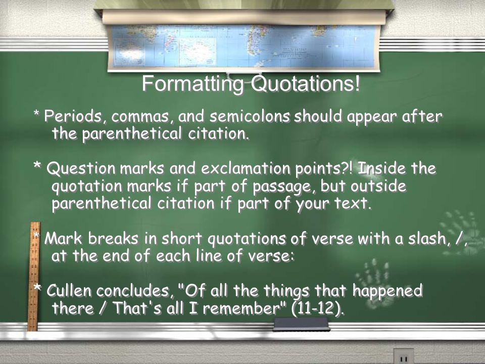 Formatting Quotations.