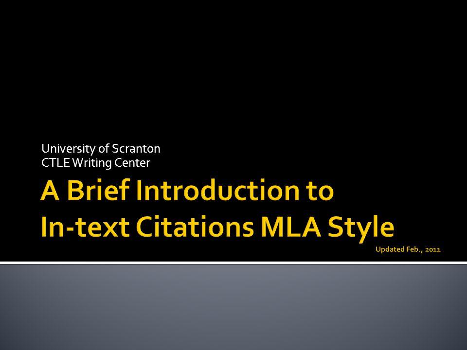 University of Scranton CTLE Writing Center