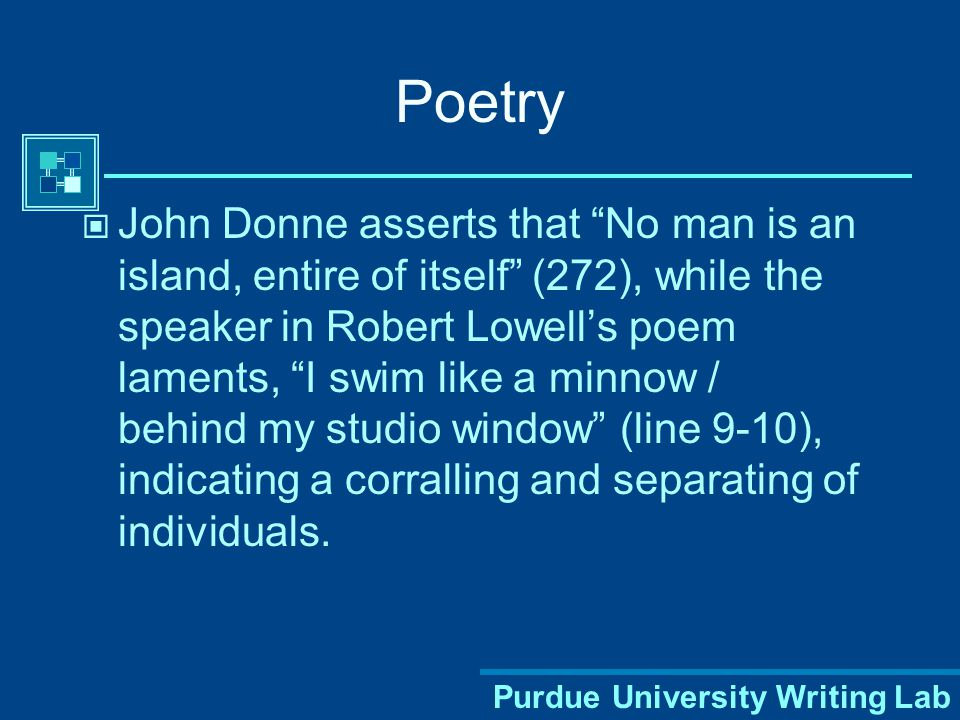 Purdue University Writing Lab Parenthetical Citations of Poetry When quoting from poetry, include the line number(s) in the parenthesis rather than page numbers.