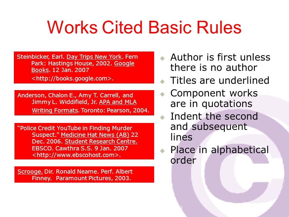 Cawthra Park S. S. (sept 2008) Works Cited Basic Rules  Author is first unless there is no author  Titles are underlined  Component works are in qu