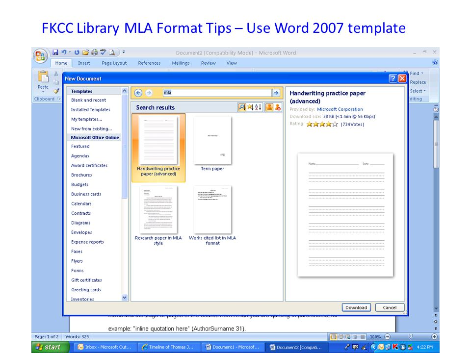 FKCC Library MLA Format Tips – Use Word 2007 template