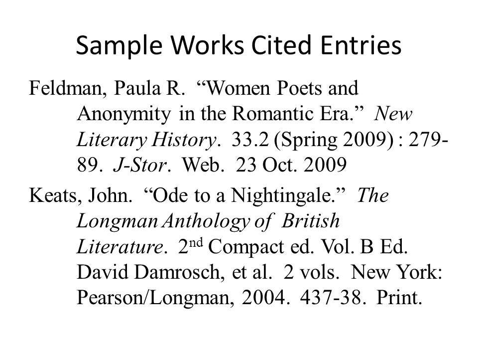 Sample Works Cited Entries Feldman, Paula R.