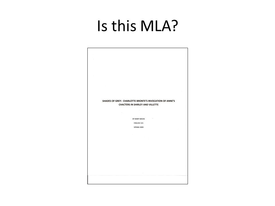 Is this MLA?