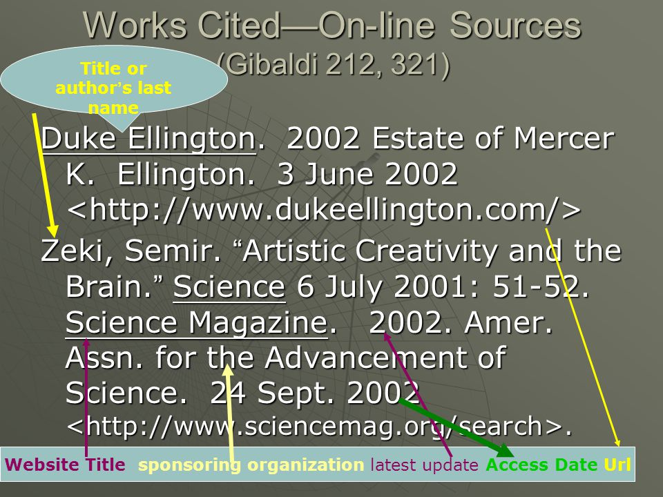 Works Cited—On-line Sources (Gibaldi 212, 321) Duke Ellington.