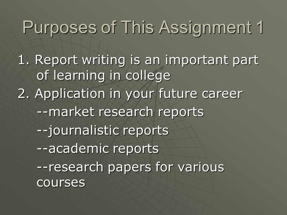 Purpose of This Assignment 2 3.Other benefits for you as an English major: academic report writing skills & documentation help you to 1)avoid plagiarism 2)use sources honestly and effectively 3)establish your credibility as a writer 4)prepare for junior research paper writing