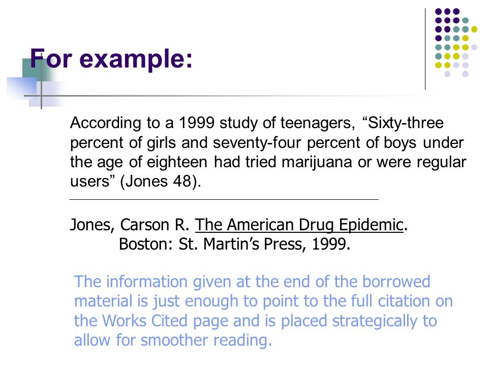 For Example: More and more people accept the premise that marijuana should be legalized.
