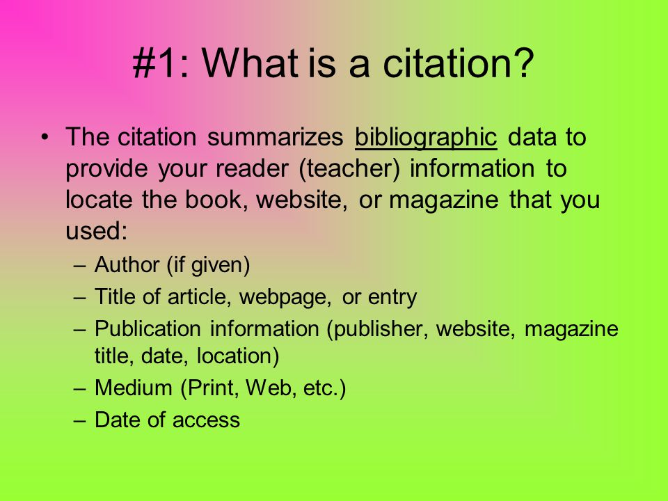 How is a citation formatted.Each citation or entry follows a specific format.